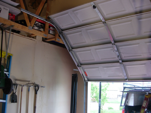 Angled high lift garage door installation and repair in Denver - Don's Garage Doors